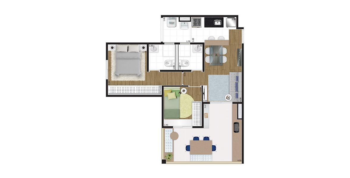 Planta do You, Now Campo Belo. 60 M² - 2 DORMS., SENDO 1 SUÍTE. Apto para família, com 2 dormitórios e 2 banheiros com iluminação e ventilação natural. O terraço grill é bem amplo e em L, que proporciona uma maior vista.