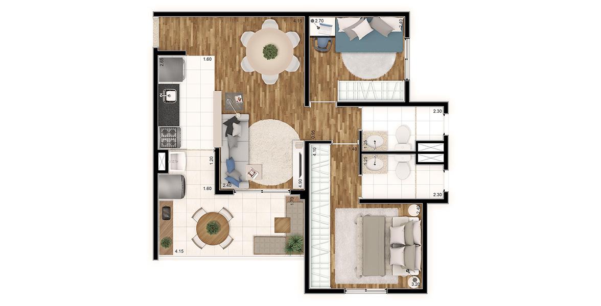 57 M² - 2 DORMS., SENDO 1 SUÍTE. Apartamento no Brooklin com boa suíte, ampla área para armário e banheiro com ventilação natural. Terraço é bem confortável, com 4 metros de frente e tem passagem direta para a cozinha.