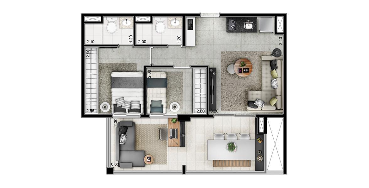 57 M² - 2 DORMS., SENDO 1 SUÍTE. Apartamento no Jardim Paulista tem amplo terraço com ponto elétrico para TV e guarda-corpo em alumínio preto e vidro. Planta é flexível, podendo ampliar o living.
