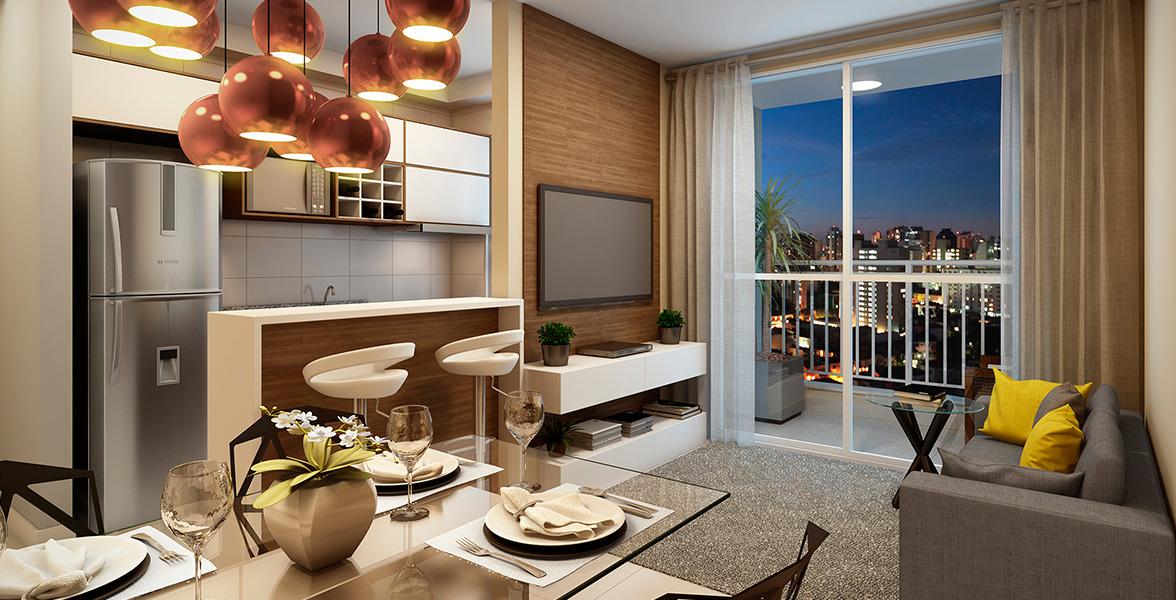 LIVING do apto de 55 m² com cozinha americana integrada o living do Condomínio Arena