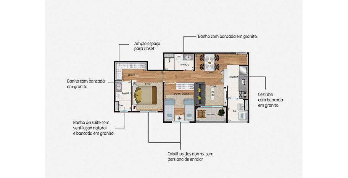 55 M² - 2 DORMS, SENDO 1 SUÍTE. Apto com cozinha americana e boa suíte master, com bastante espaço de armário e persianas de enrolar, que permitem maior entrada de luz. Há a possibilidade de ampliar o living, transformando o dormitório em Sala de TV.
