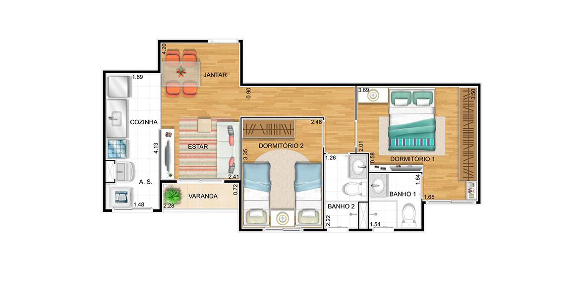 54 M² - 2 DORMS., SENDO 1 SUÍTE. Apto com generosa suíte, com boa área para armário. Sala com 2 ambientes, integrada ao terraço que possui porta de vidro com tratamento acústico.