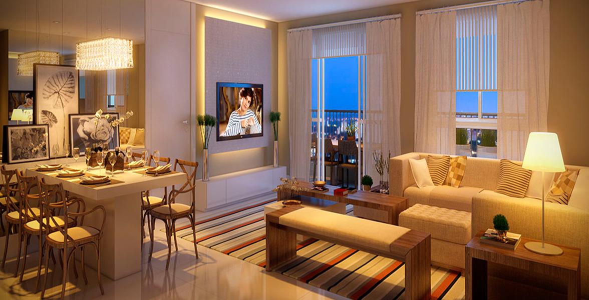 LIVING AMPLIADO do apto de 135 m² com lavabo e isolamento da cozinha, que inclusive tem sua própria entrada de serviço do Maison Artisan Ipiranga