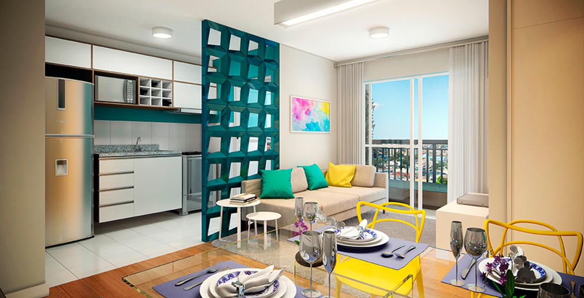 LIVING do apto de 52 m² com sugestão de parede vazada entre a cozinha e o living, que também pode ser uma bancada para cozinha americana do Maxi Pirituba