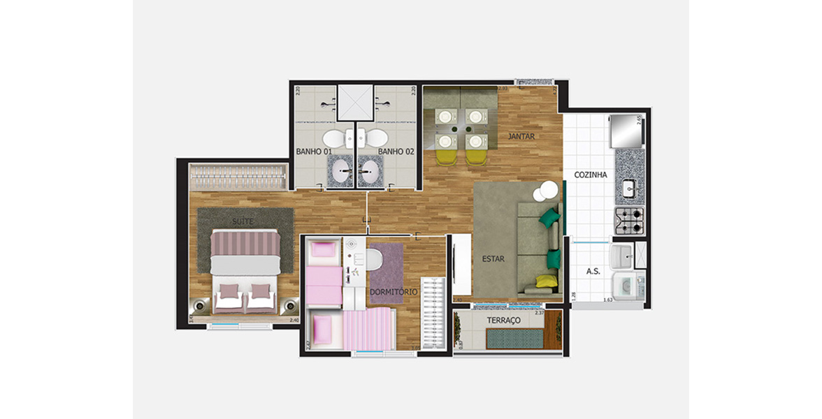 Planta do Maxi Pirituba. 52 M² - 2 DORMS., SENDO 1 SUÍTE. Apartamento em Pirituba tem um bom living que ainda pode ser ampliado, transformando o dormitório em Sala de TV.