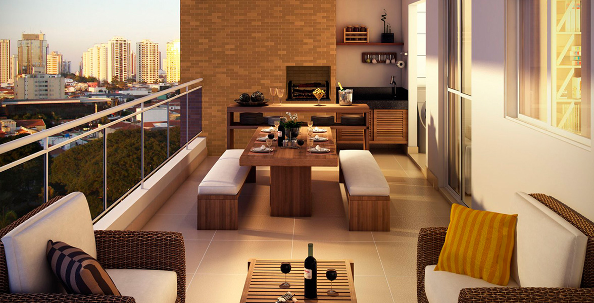 TERRAÇO GOURMET do apto de 112 m² com guarda-corpo de vidro, churrasqueira e passagem direta para a cozinha do Meridian Barra Funda