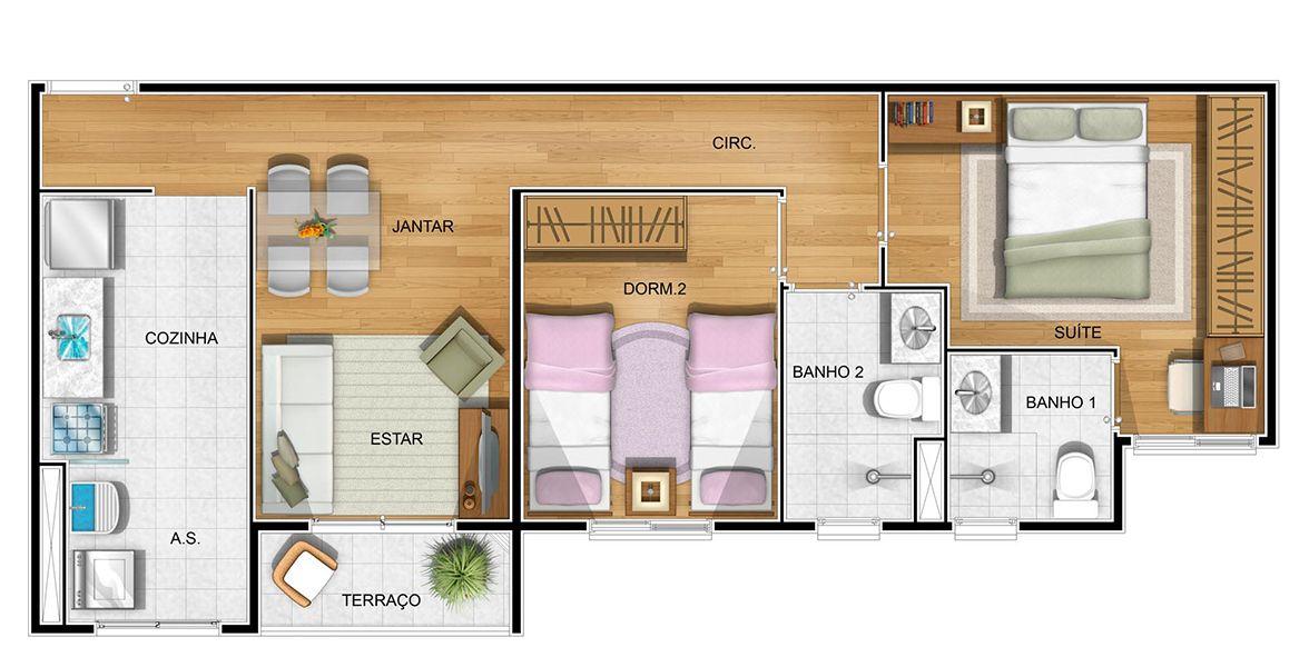 58 M² - 2 DORMS., SENDO 1 SUÍTE. Apto com boa suíte, com bastante área para armário e banheiro ventilado e iluminando naturalmente.