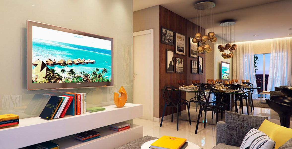 LIVING do apto de 61 m² que também conta com churrasqueira no terraço do Vila Nova Sabará - Praça Inglesa