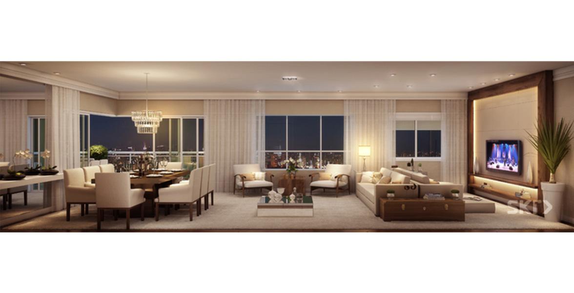 LIVING AMPLIADO do apto de 185 m² recebe ótima iluminação natural, devido à ampla integração com o terraço gourmet.