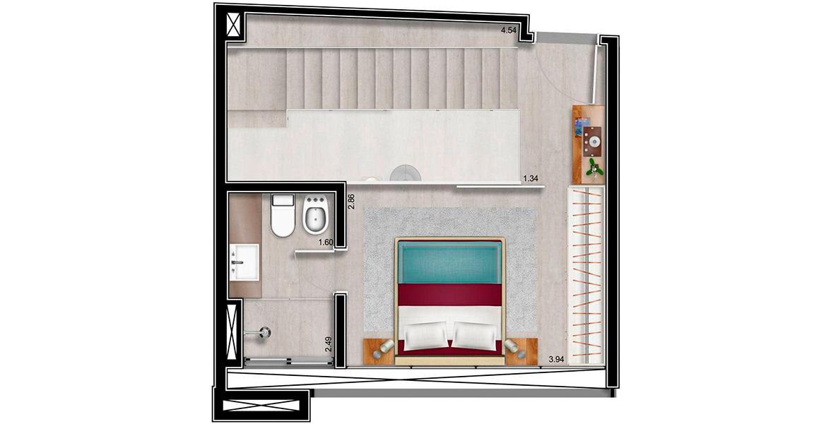 Planta do Limited Funchal. 78 M² - 1 SUÍTE. DUPLEX SUPERIOR. Acomoda a suíte com bastante espaço para armário.