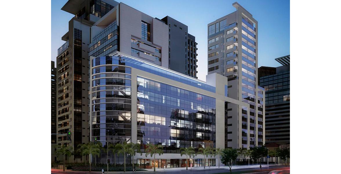 FACHADA das 2 torres residenciais a Limited Duplex, da esquina, e a Limited, com 18 pavimentos.