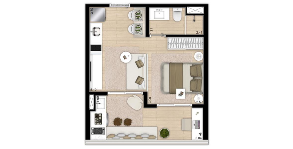 33 M² - STUDIO. Apartamento já entregue com infraestrutura para automação e para ar-condicionado.