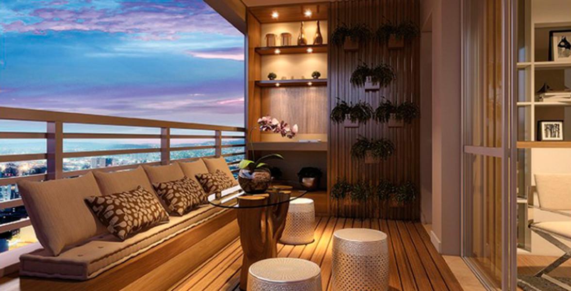 TERRAÇO do apto de 83 m² com sugestão de decoração com piso nivelado.