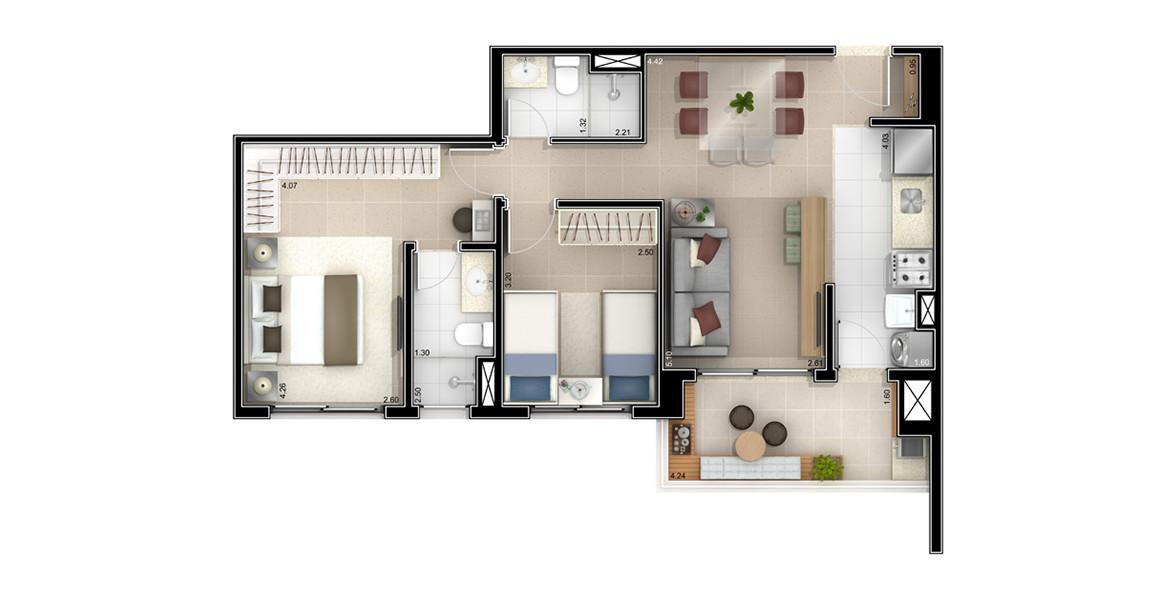67 M² - 2 DORMS., SENDO 1 SUÍTE. Apto com 2 dormitórios, para famílias com 1 ou 2 filhos. Se o filho ainda estiver nos planos, talvez você passa escolher a opção com 1 dormitório e depois fechar facilmente com parede de drywall.