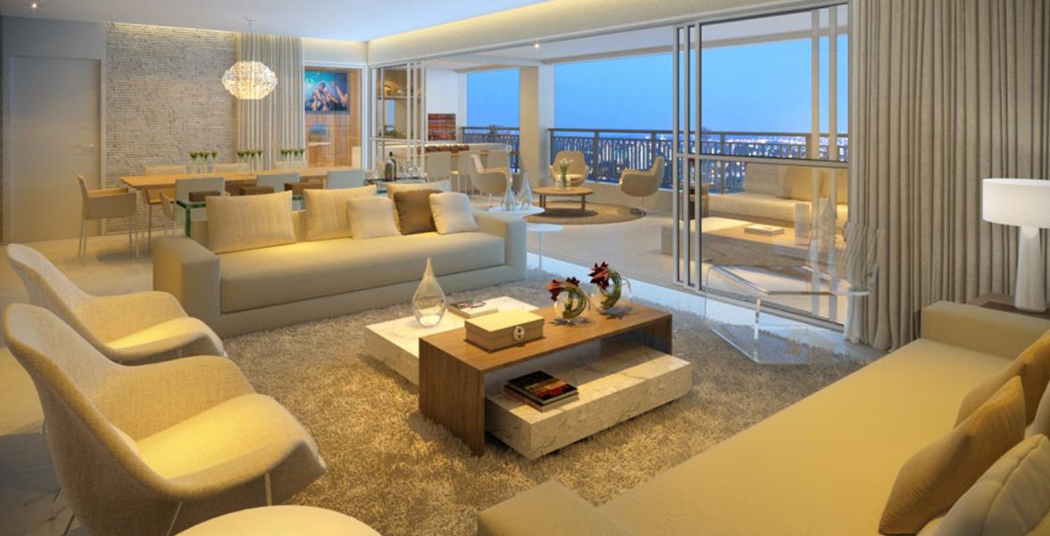 LIVING com amplitude incrível, potencializada pelo caixilho em L, que proporciona maior iluminação e integração dos ambientes.