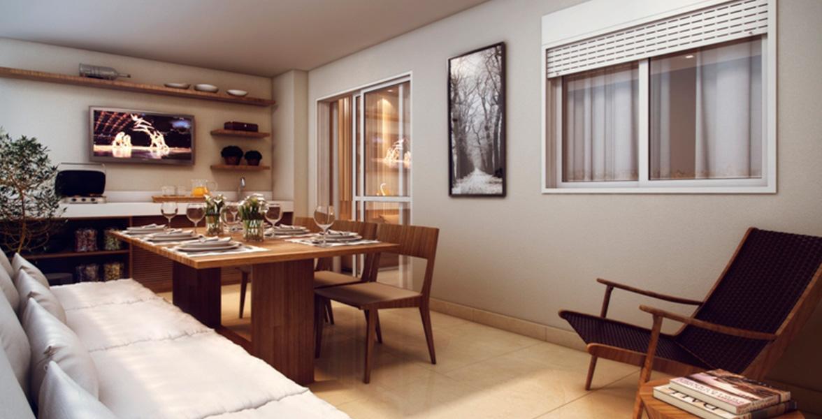 TERRAÇO do apto de  82 m² com bom espaço para mesa, que pode também fazer função de sala de jantar.