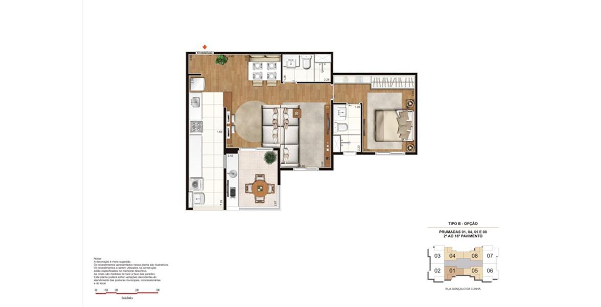64 M² - 1 SUÍTE. Apartamento com living ampliado, torna a área social bem confortável, com 3 ambientes, para receber os amigos.