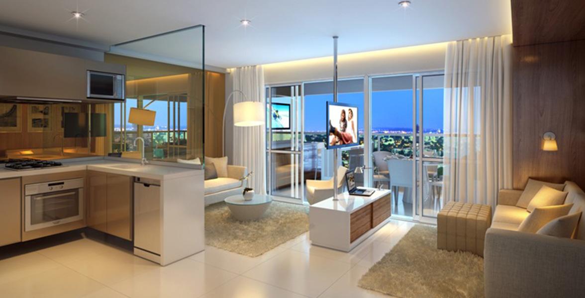LIVING AMPLIADO do apto de 58 m² com amplo caixilho, integrando com o terraço.