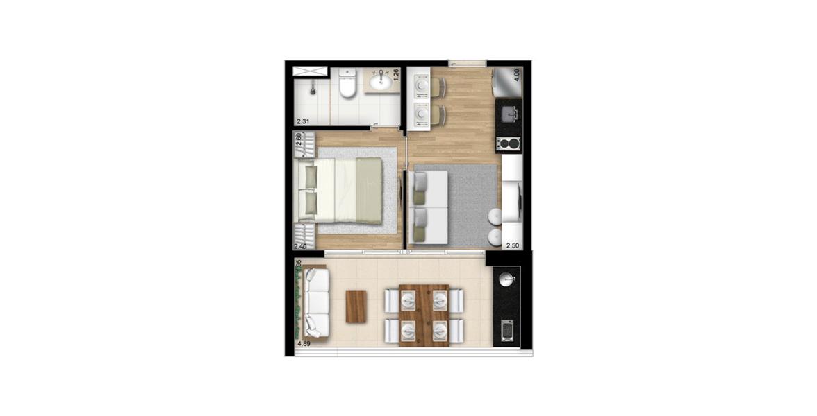33 M² - 1 SUÍTE. Apartamento compacto totalmente aproveitado com suíte, bancada para refeição, APA (área de preparo de alimentos), com espaço para geladeira e cooktop elétrico de 2 bocas, sala de estar e amplo terraço.