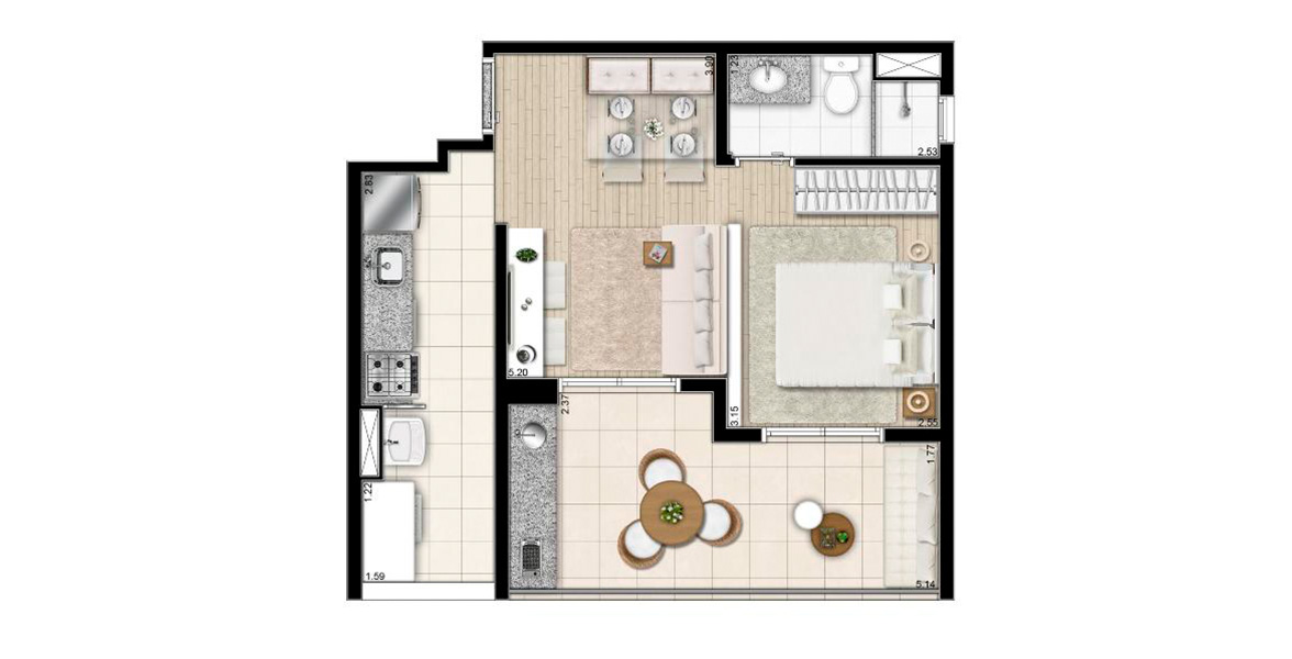 Planta do NOW Studios Ipiranga. floorplan