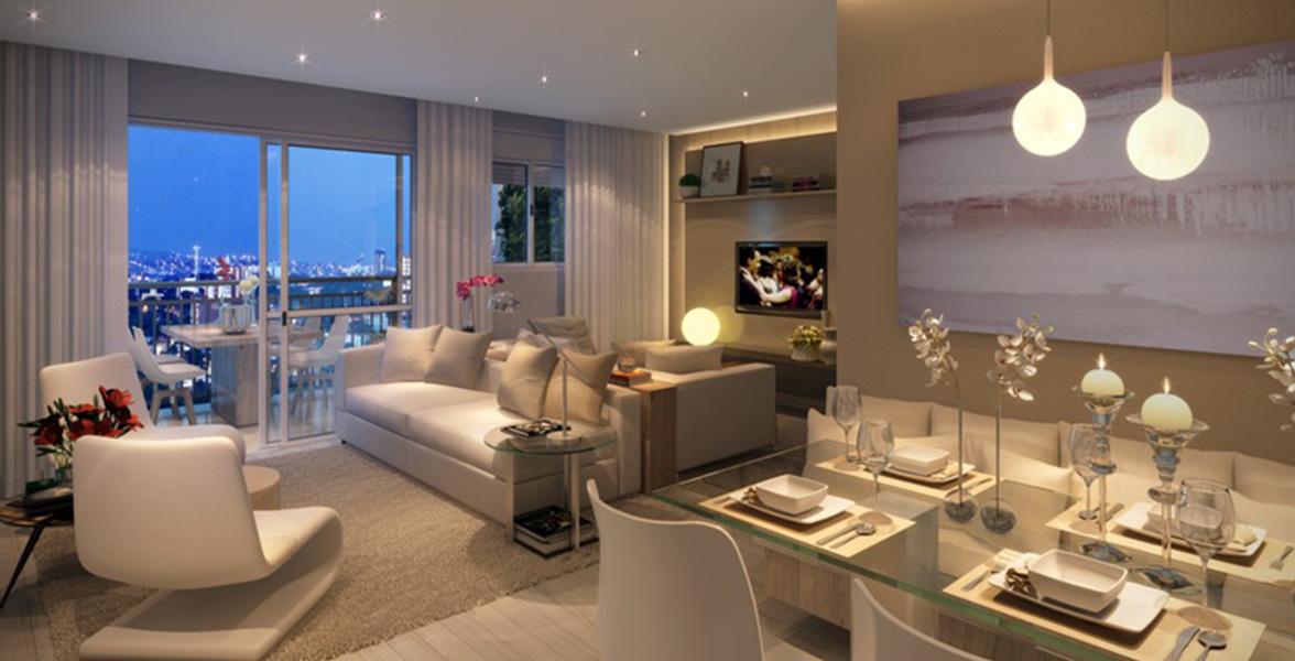 LIVING AMPLIADO do apto de 98 m² com lavabo e ambientes bem confortáveis.