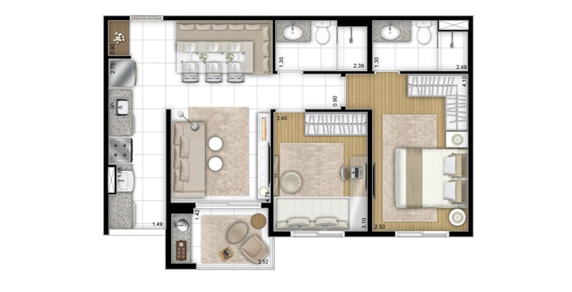 58 M² - 2 DORMS., SENDO 1 SUÍTE. Apartamento bom para famílias possui dormitórios espaçosos e um bom terraço grill e opção de bancada.