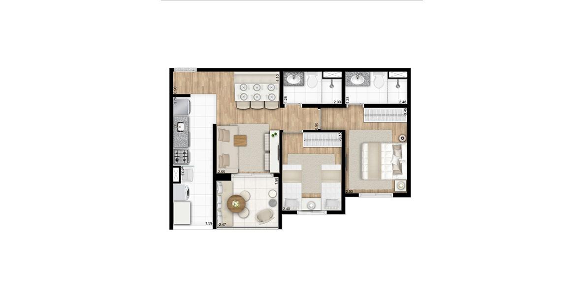 57 M² - 2 DORMS., 1 SUÍTE. Apartamento ideal para famílias, com boa suíte e dormitório para 2 camas.