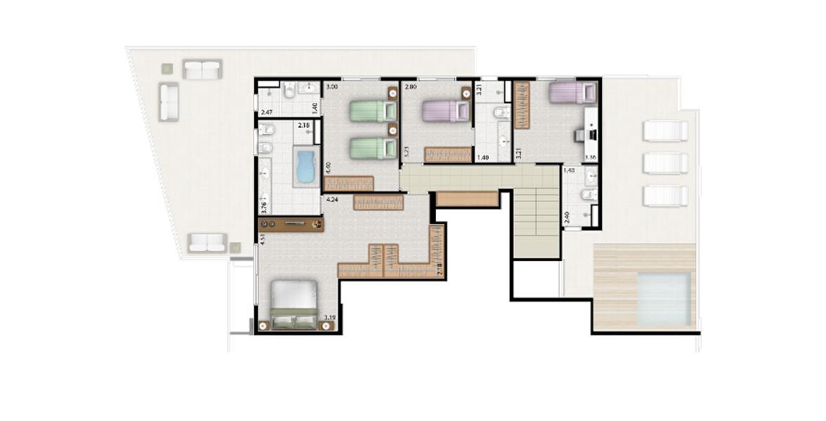 321 M² - 4 SUÍTES. DUPLEX SUPERIOR. Cobertura com 4 boas suítes, sem desperdiçar espaço com corredor. A suíte master tem uma grande janela com 1,65 metros de altura, closet senhor e senhora e banheiro com opção de hidromassagem.