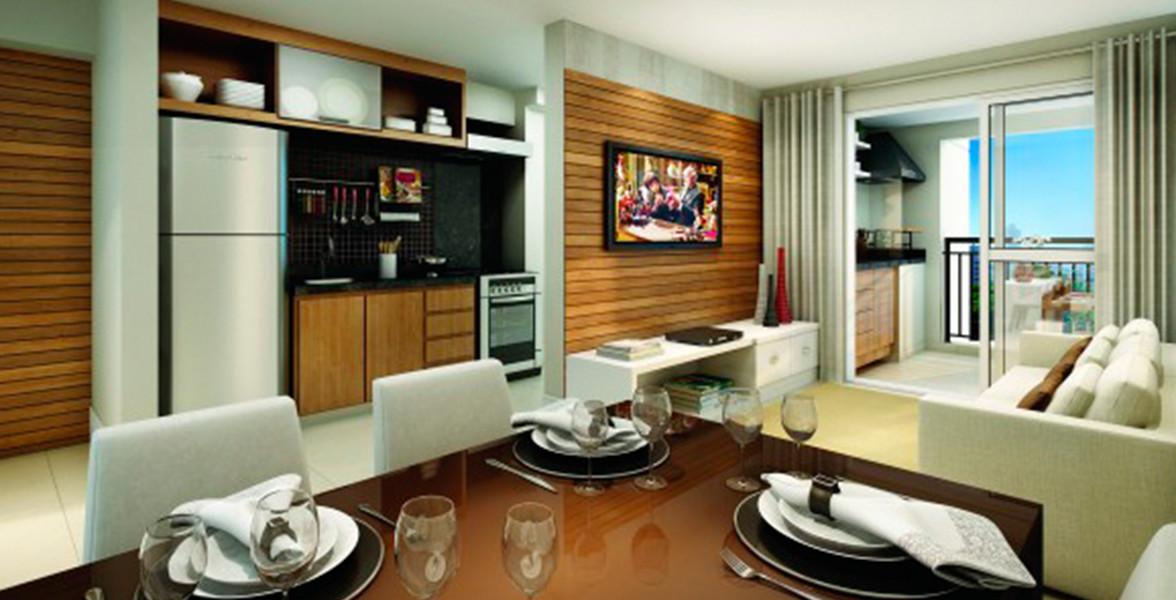 LIVING do apto de 68 m² com sugestão de retirar até mesmo a cozinha americana, aumentando a integração dos ambientes e melhorando a circulação.