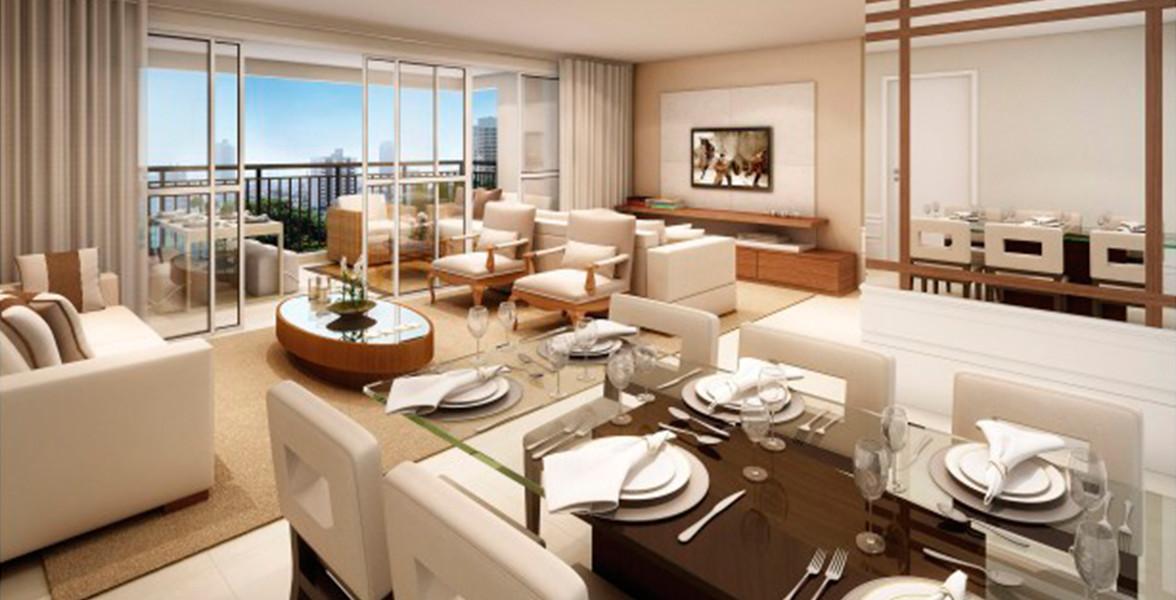 LIVING AMPLIADO do apto de 122 m², com lavabo e amplo caixilho, integrando-se com o terraço gourmet.