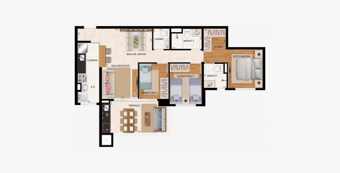 87 M² - 3 DORMS., SENDO 1 SUÍTE. Apto família, ótima suíte master com infra para ar-condicionado, closet e banheiro com ventilação natural.