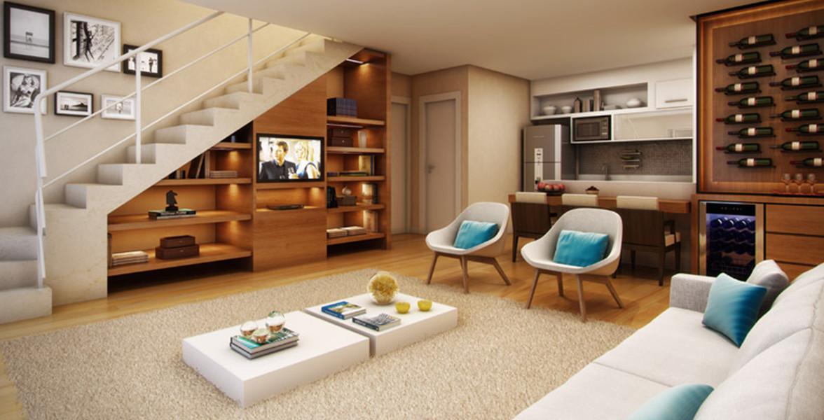 PISO INFERIOR DO DUPLEX de 120 m² com opção de ar-condicionado.
