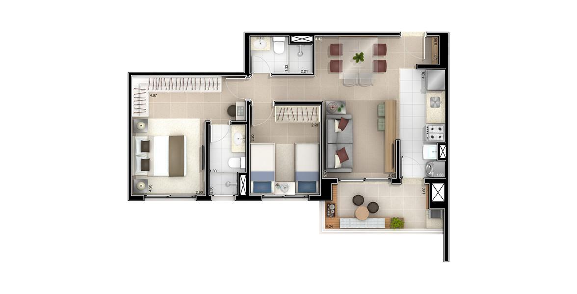 67 M² - 2 DORMS., SENDO 1 SUÍTE. Apto com 2 dormitórios, para famílias com 1 ou 2 filhos. Se o filho ainda estiver só nos planos, talvez você passa escolher a opção com 1 dormitório e depois fechar facilmente com parede de drywall.