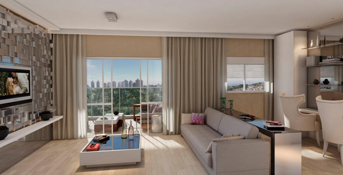 LIVING AMPLIADO do apto de 116 m² entregue com venezianas de enrolar proporcionando maior iluminação no ambiente.