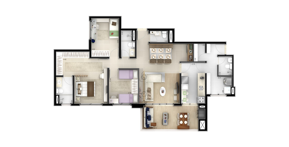116 M² - 3 DORMS., SENDO 1 SUÍTE. Opção familiar com 3 bons dormitórios, mantém as qualidades da suíte master e recua um pouco o living, sem perder nada na integração com o terraço gourmet, que tem passagem direta para a copa.