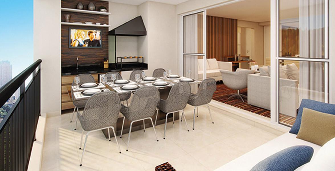 TERRAÇO do apto de 103 m² com opção de churrasqueira e bancada.
