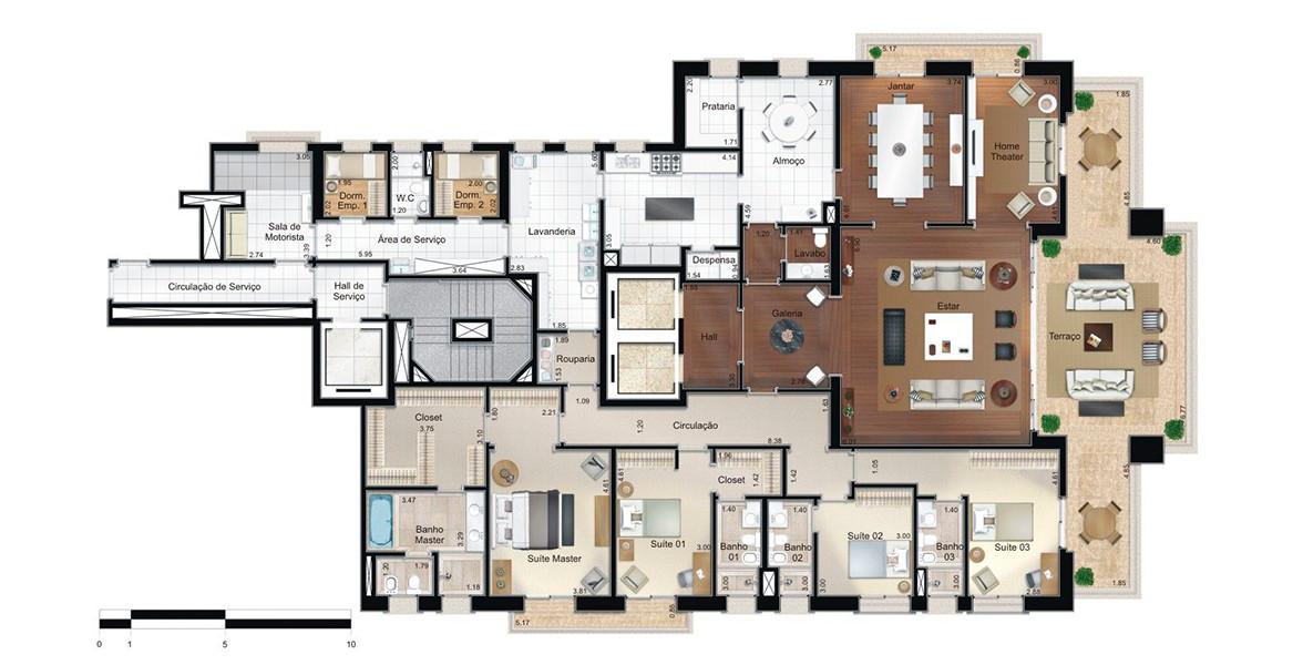 405 M² - 4 SUÍTES. Apartamento com ótima área íntima, isolada da social e com passagem íntima para a cozinha. Há 2 elevadores sociais e um de serviço para atender rapidamente os moradores e suas visitas.