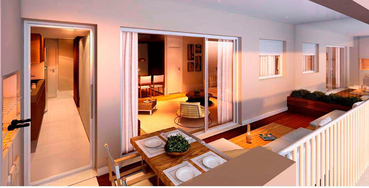 TERRAÇO GOURMET do apto de 95 m² entregue com churrasqueira.