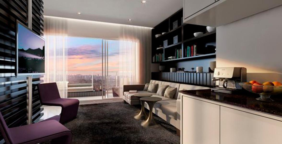 LIVING do apto de 73 m² que tem um amplo caixilho com 6 folhas fazendo uma ótima integração com o terraço do Limited Itaim