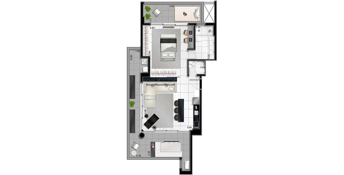 Planta do Limited Itaim. 108 M² - 1 SUÍTE. Apto com suíte com terraço íntimo, living integrado com a cozinha e com o amplo terraço que envolve toda a área íntima.