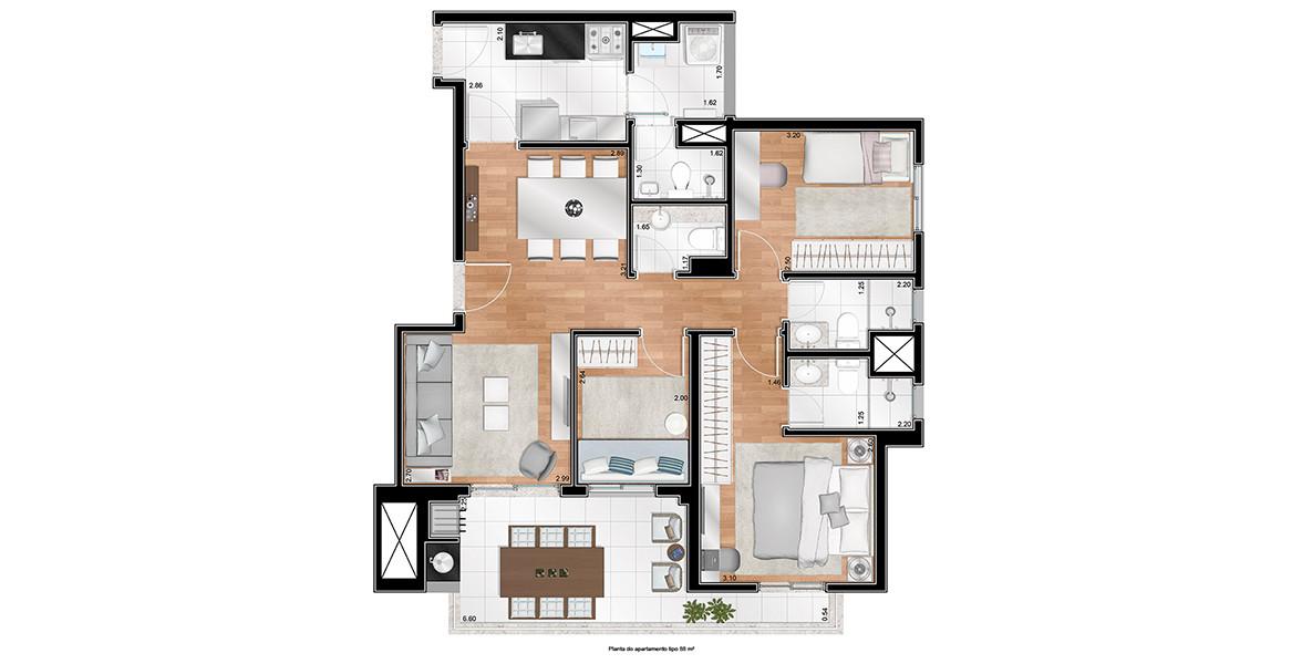 88 M² - 3 DORMS., SENDO 1 SUÍTE. Apto com um dormitório a mais para as famílias maiores, ainda possui ótima suíte master com ponto para ar-condicionado e porta-balcão integrando o amplo terraço gourmet, que já é entregue com churrasqueira.