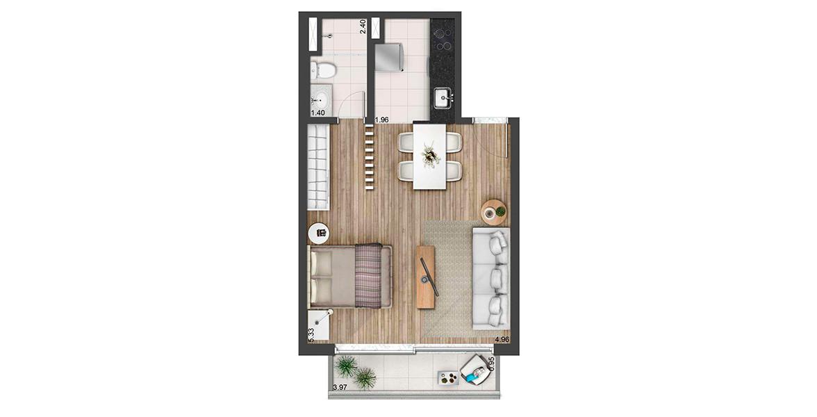 Planta do Urbanity Home. 44 M² - STUDIO. Apto separa a cozinha e o banho, deixando todo o restante para se acomodar bem, sem paredes internas.