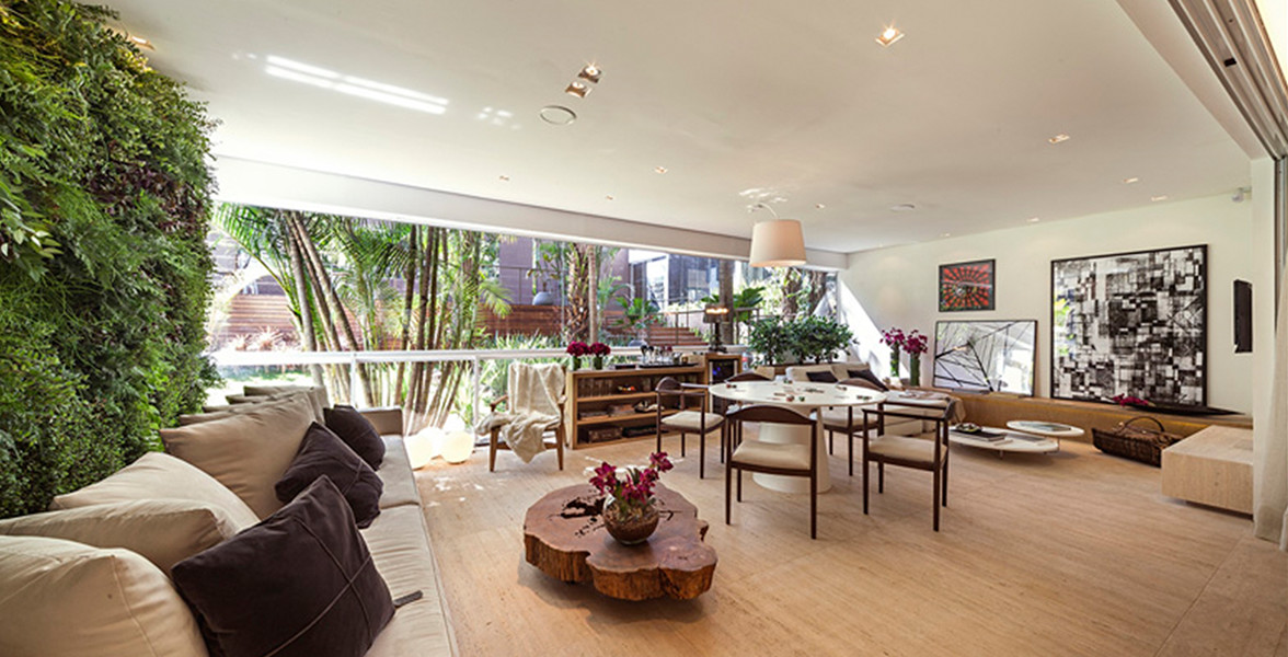 TERRAÇO ESTAR, conforme modelo decorado, onde foi nivelado o piso para melhor integração do living com o terraço.