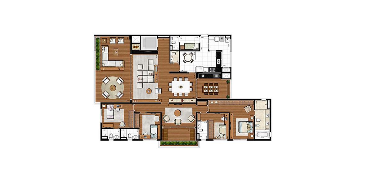 275 M² - 4 SUÍTES. Apartamento com grandes suítes, o apto é perfeito para grandes famílias, oferencendo conforto para todos e uma área social ainda maior. Há dependência de serviço completa, com entrada exclusiva.