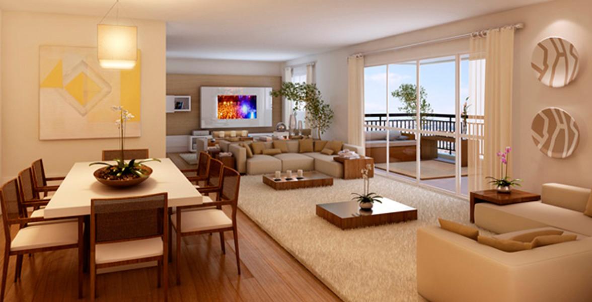 LIVING AMPLIADO deixa o ambiente muito espaçoso e até melhor, porque utiliza um espaço próprio para a sala de TV, deixando a circulação para o terraço mais aberta, mais fluída.