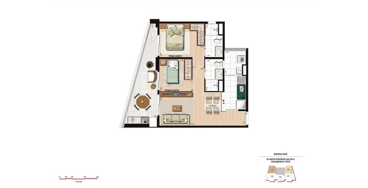 68 M² - 2 DORMS., SENDO 1 SUÍTE. Apartamento com cozinha americana e um amplo terraço gourmet com opção de churrasqueira e guarda-corpo de vidro.