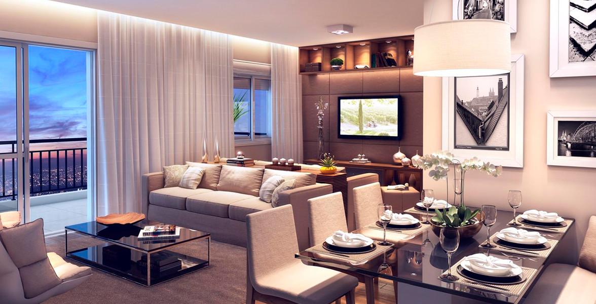 LIVING AMPLIADO do apto de 69 m² bem dividido, sem atrapalhar a circulação.