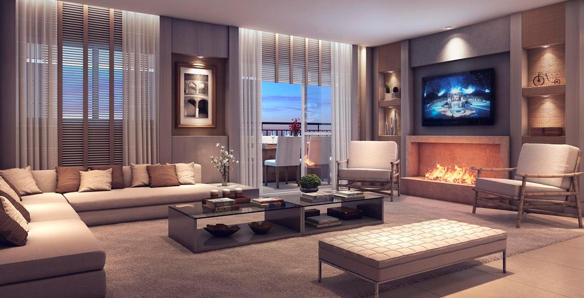 LIVING AMPLIADO do apto de 92 m² tem grande ambiente social para receber bem, com sugestão de lareira.