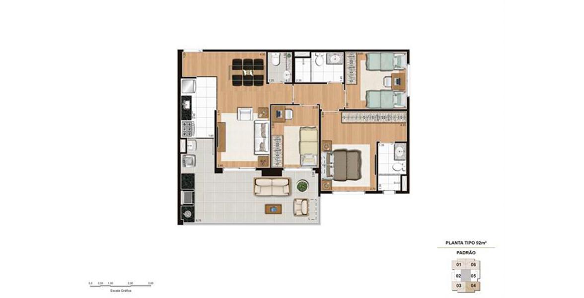 92 M² - 3 DORMITÓRIOS, SENDO 1 SUÍTE. Apartamento com uma boa suíte master, com banheiro com ventilação natural. O amplo terraço com opção de churrasqueira complementa muito bem o living para receber suas visitas confortavelmente.