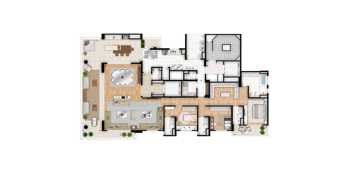 288 M² - 3 SUÍTES. TORRE BIANCO. Apartamento com living ampliado, abraçado pelo excelente terraço que se comunica diretamente com a cozinha. Suíte master conta com closet, terraço íntimo, sala de banho com opção de banheira e mais um banheiro.